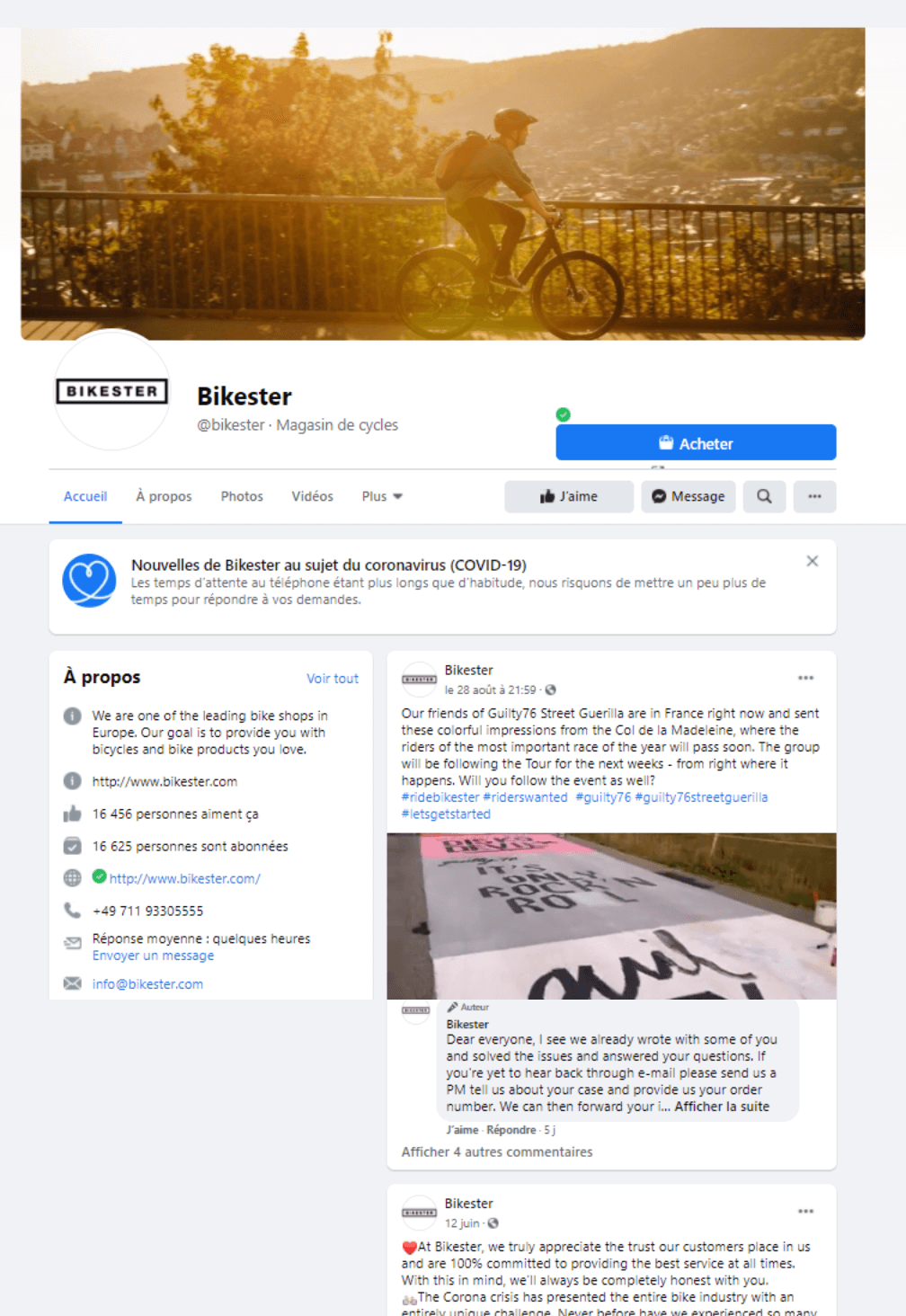 facebook bikester- media sociaux- marketing digital